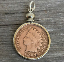 Antique Indian head penny coin fob Double sided charm Chief Pendant vtg retro
