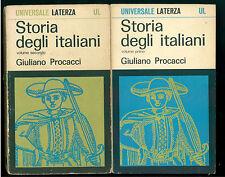 PROCACCI GIULIANO STORIA DEGLI ITALIANI 2 VOLL. LATERZA 1968 UNIVERSALE 93-94