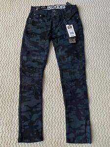 NWT Boy's LR Scoop BDC Black Camouflage Moto Leg Stretch Skinny Jeans SIZES 8-12
