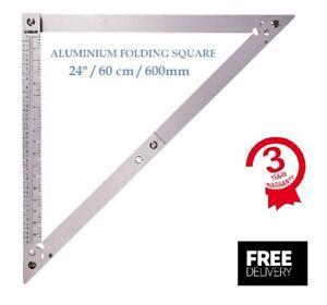 """Folding Square 600mm Large Aluminium Metric Imperial 24"""" Carpenter Multi Square"""