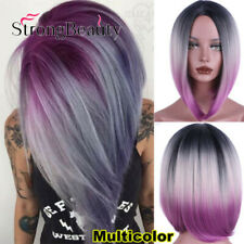 Synthetic Ombre Grey Purple Hair Bob Style Straight Short Wigs for Women Black