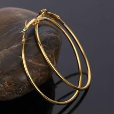 wedding party xmas 18K Yellow Gold Filled ring loop Dangle Hoop Earrings Jewelry