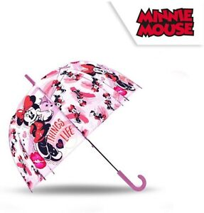 """Licensed 18"""" Minnie Mouse Auto Dome Umbrella Wipeable Parachute Fabric Kids Gift"""