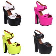 Womens Ladies Platform Stiletto Chunky Sole Casual High Heel Sandals Shoes Size