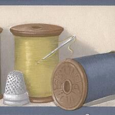 Sewing Theme - Thread - Needles - Thimble - ONLY $6 - Wallpaper Border 837