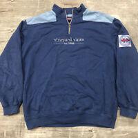 Men's Vineyard Vines 1/4 Zip Pull Over Sweatshirt Blue XL Spellout 90's