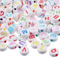 500 Mix Weiß Buchstaben A-Z Rund Acryl Perlen Beads Flachrund Scheiben 7x7mm *
