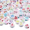 500 Mix Weiß Buchstaben A-Z Rund Acryl Perlen Beads Flachrund Scheiben 7x7mm ·