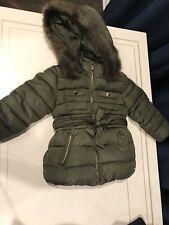 Mayoral Girls Toddler Jacket Green Fur Zipper Hooded