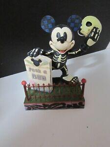 Jim Shore Disney Mickey Mouse PEEK-A-BOO Halloween Skelton Glow Dark #4011043