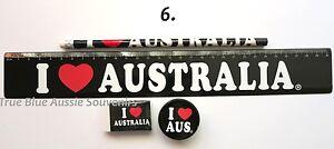 1x Australian Souvenir Ruler Pencil Eraser Sharpener - Black 'I Love Australia'