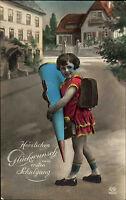 Glückwunsch Schulgang Schule Einschulung Kind Mädchen Schultüte color um 1925