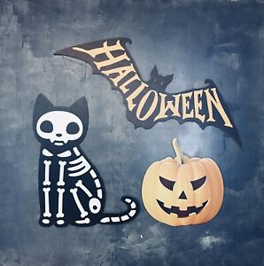 SPECIAL OFFER Halloween Set Of 3 MDF Prop Decorations Cat Pumpkin Party Signs HW