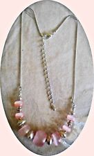 FAUX PINK MOONSTONE & FACETTED SILVERTONE BEADS & SNAKE CHAIN DECOLLETE NECKLACE