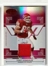 TONY GONZALEZ 2006 LEAF CERTIFIED MATERIALS RED MIRROR GAME USED JERSEY#/150