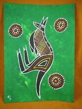 AUS-5 Kangaroo dark green Australian Native Aboriginal PAINTING Artwork T Morgan