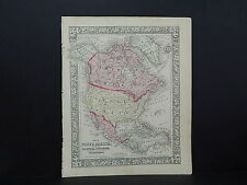 Antique Map, Mitchell, 1865 North America M8#05