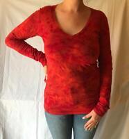 CRUEL GIRL Women's Long Sleeve V-Neck Tie-Dye T-Shirt CTT95113005 Red NWT