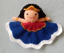 Hand Crocheted Princess Wonder Woman Super Hero Lovey Baby Blanket Doll *NEW*