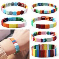 Bohemian Stack Bracelet Handmade Elastic Enamel Rainbow Tile Fashion Bangles CJ