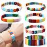 Bohemian Stack Bracelet Handmade Elastic Enamel Rainbow Tile Fashion Bangles I2