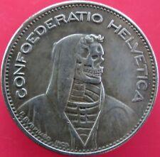 1965 FIVE SWISS FRANCS 5FR SKELETON HELVETICA HOBO CARVED FANTASY COIN