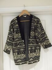 MONSOON Jacket Black/Grey/Cream Aztec Print Open Front Cardigan UK Size 12