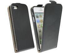 Klapp Tasche Handyhülle Kunstleder Schale Case Etui für Iphone 5 5S SE / Schwarz