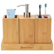 3-in-1 Bathroom Bamboo Bath Caddy Toothbrush Shampoo Storage Rack Organizer