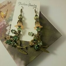 ARTISAN PRETTY LUCITE FLOWERS WITH SWAROVSKI CRYSTAL BEADS DANGLING EARRINGS