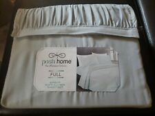 Posh Home 4 piece Ruffled Hem Boho Style Pastel Blue Sheet Set, Full