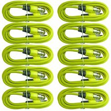 10 PACK yellow 3 FT XLR pin shielded shielded mic microphone extension cables