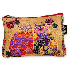 LAUREL BURCH Flowering Feline Cosmetic Case ~ Makeup or Pencil Bag B ~ New