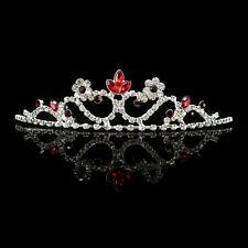 Rot Blumenmädchen Kinder Hochzeit Haarschmuck Haarreif Krone Diademe Tiara