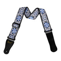 Cotton Thick Buckle Strap Replacement for Acoustic Folk Guitar Bass Blue