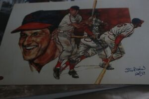 stan musial autographed  poster