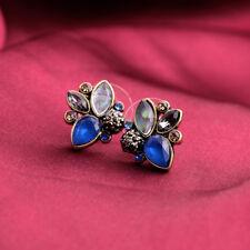 Boucles d`Oreilles Clous Gris Bleu Tres Mignon Vintage Retro Legere Cadeau NN 2