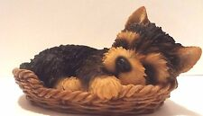 Wicker Basket Yorkshire Terrier Puppy Dog- Life Like Figurine Statue Home/Garden