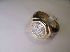 Vermeil Sterling 925 Silver White Diamond Mens Mans Band Ring