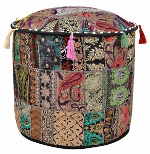 Hippie Handmade Black Patchwork Ottomans Indian Footstools Round Cushion Cover