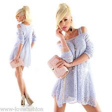 Tunika-Minikleid incl. Longtop-2teilig Hellblau Minikleid  One Size