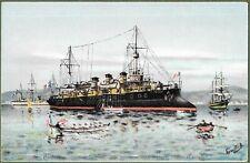 French Cruiser Pothuau. Superb Signed Art Postcard c1902.
