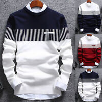 MEN'S AUTUMN FASHION CASUAL O NECK STRIP BLOCK KNITWEAR JUMPER PULLOVER SWEATER