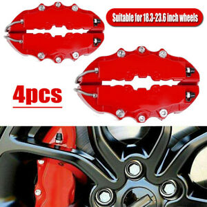 4x Red 3D Style Car Disc Brake Caliper Covers Parts Front Rear Brake Accessories