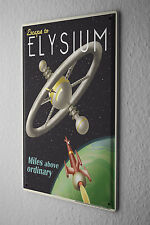 Decorative Tin Sign Space  Satellite earth rocket Elysium Metal Plate