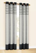 Set of Two Window Curtain Panels: Metallic Silver with Black, Embroidered, 78x84