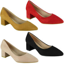 Womens Ladies Faux Suede Office Work Pointed Toe New Mid Heel Court Shoes Size