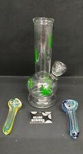 "Hookah Water Pipe Glass Bong 6"" inch, ""Multi GREEN LEAF With FREEBIES"""