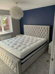 New Naple Fabric Stylish Princess Sleigh Bed Frame Available In All Sizes