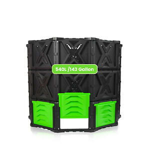 SQUEEZE master Large Compost Bin Outdoor- 540L 143Gallon-Easy Assembly No Screws